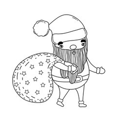 cute christmas santa claus with bag vector image