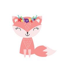 cute fox flower wreath flat in vector image