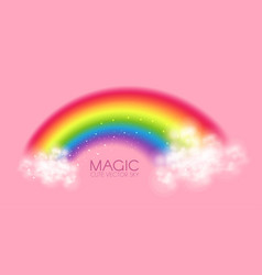 Cute magic rainbow with clouds on pink background vector