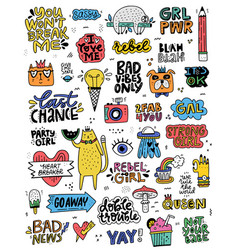 Cute sticker collection vector