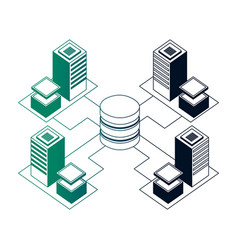 database center connected server storage network vector image