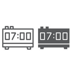 digital clock line and glyph icon electronic vector image