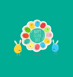 easter eggs in rabbit ears on plate happy vector image
