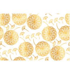 Elegant gold geometric dandelion flowers vector