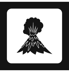 Eruption of volcano icon simple style vector