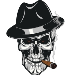 Evil skull with cigar vector