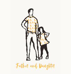 father child silhouette hand drawn sketch vector image