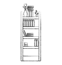 Figure education bookcase with folders document vector