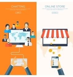 Flat header shopping web vector