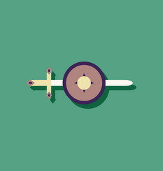 Flat icon design collection sword and shield in vector