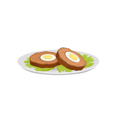 flat icon of scotch eggs with lettuce vector image