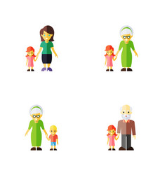 flat icon people set of grandma grandpa daugther vector image