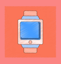 Flat shading style icon digital watch vector