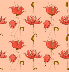 floral seamless pattern in pink coral retro style vector image