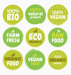 fresh healthy organic vegan food logo labels and vector image