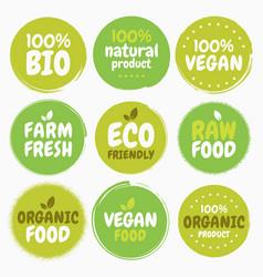 Fresh healthy organic vegan food logo labels and vector