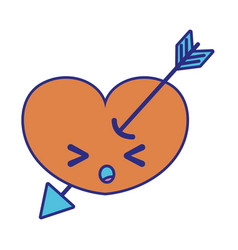 Full color sleeping heart with arrow kawaii vector