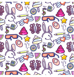 Fun doodles icons seamless pattern vector