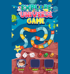 Game template with many planets in space vector