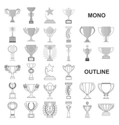 Gold cup monochrom icons in set collection for vector