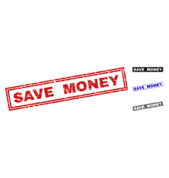 grunge save money textured rectangle stamps vector image