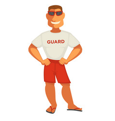 guardian man in white t-shirt and shorts smiling vector image