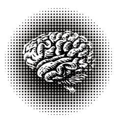 Halftone brain vector image