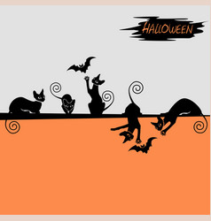 halloween background with a black cat vector image