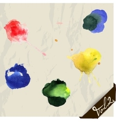 Hand drawn watercolor splashes set vector