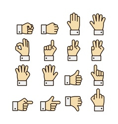 Hand gestures icons set contrast color vector