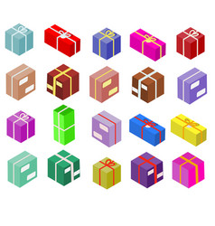 Isometric boxes isolated on white icons vector