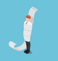 Isometric businessman tied up with contract vector