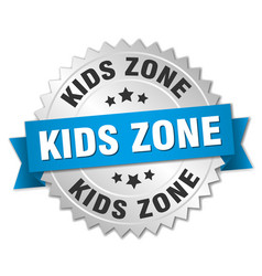 kids zone round isolated silver badge vector image