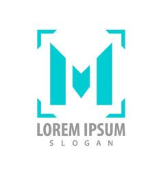 logo concept design square line initial letter m vector image