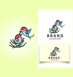Logo with a bird in a nest with baby vector