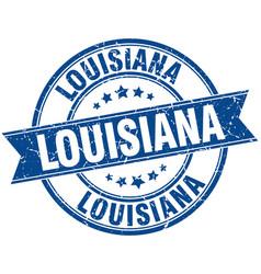 Louisiana blue round grunge vintage ribbon stamp vector