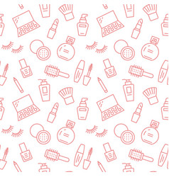 Makeup beauty care red seamless pattern with flat vector
