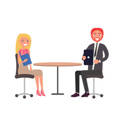 man and woman dressed in formal cloth sitting vector image
