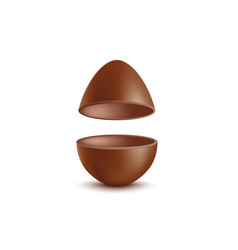 mockup easter chocolate egg halves realistic vector image