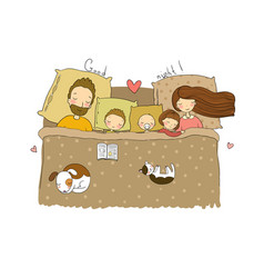 mom dad and children sweet dreams vector image