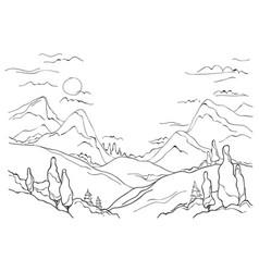 Mountains hills and trees vector
