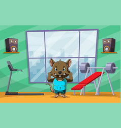 Muscular mouse doing sport in gym place vector