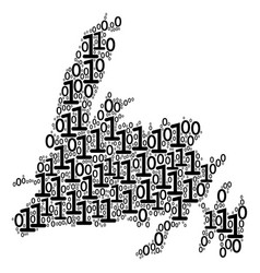 newfoundland island map collage of binary digits vector image