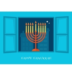 Night city view of open window Hanukkah menorah vector