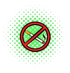 No smoking sign icon comics style vector