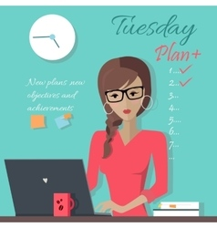 Office Lady Writing Down a Week Plan vector image