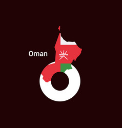 oman initial letter country with map and flag vector image