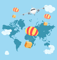 packaging box flying on parachute from airplane in vector image
