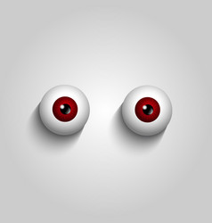 Pair of red brown eyeballs isolated on white vector
