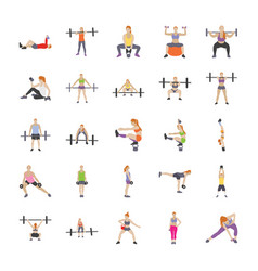 Physical workout flat icons vector